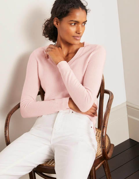 Cashmere V-neck Sweater - Milkshake