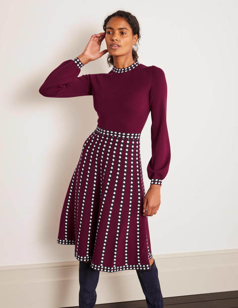 Dollie Knitted Dress - Ruby Ring, Linear Dot