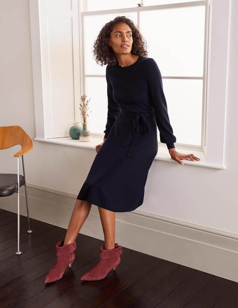 Deborah Belted Knitted Dress - Navy