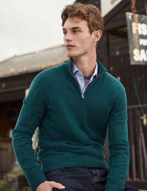 Cashmere Half-Zip - Emerald Night Green