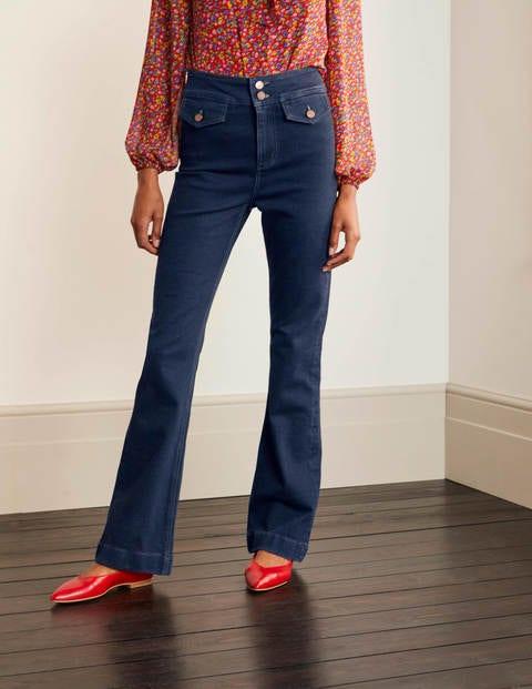Button Detail Bootcut Jeans