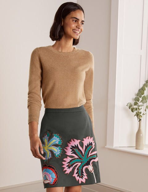 Riley Embroidered Mini Skirt - Graphite Floral Embroidery