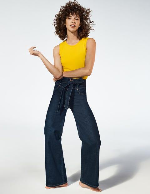 Tie Detail Wide Leg Jeans - Indigo