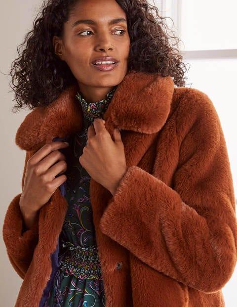 Elsted Faux Fur Jacket Red Oak Boden Uk, Fake Fur Coats London