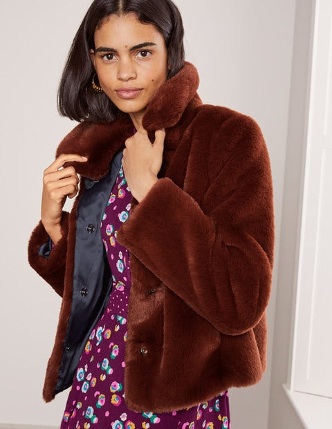 Elsted Faux Fur Jacket - Red Oak