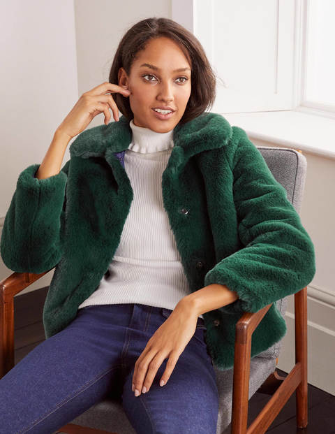 Elsted Faux Fur Jacket - Deep Forest