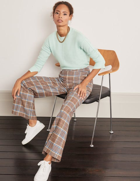 Wesley Wool Pants - Brown and Coral Check