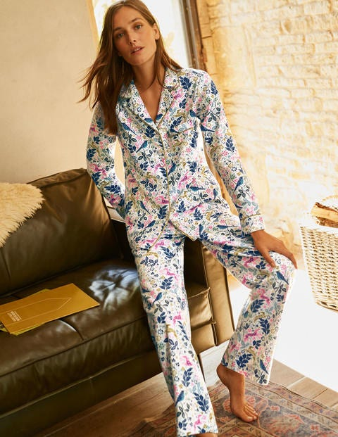 Vanessa Cosy Pajamas - Ivory Whimsical Forest