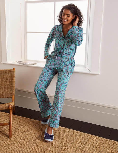 Janie Pyjama Bottoms - Frost, Fanciful Peacock