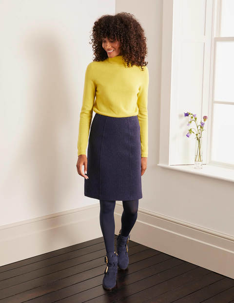 Poppy Boiled Wool Skirt - Navy