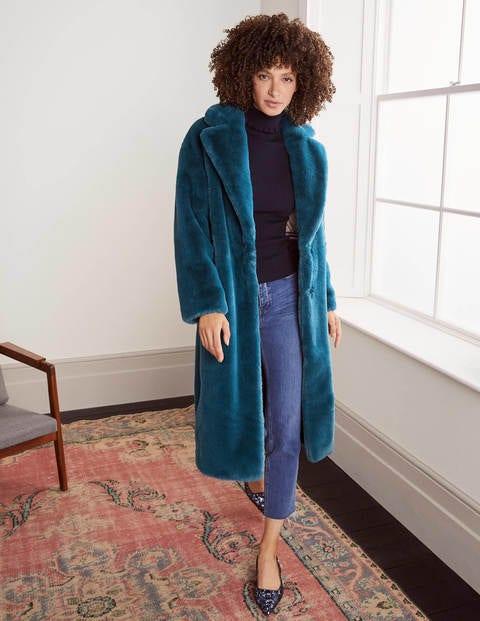 Kenilworth Faux Fur Coat - Rich Teal