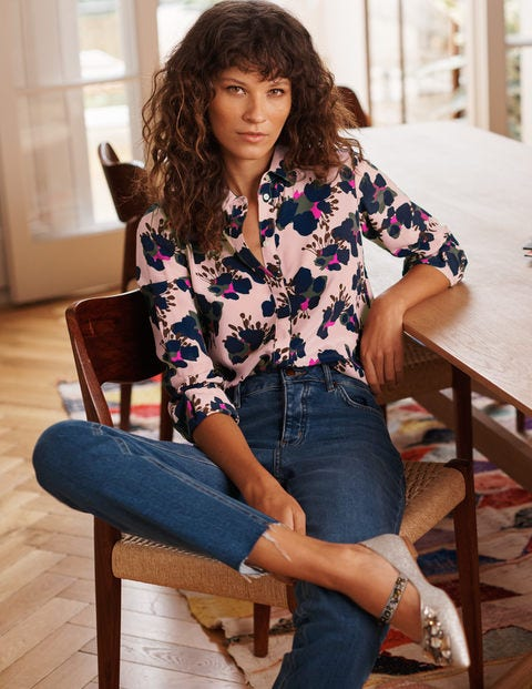 The Silk Shirt - Milkshake, Wild Floret Large