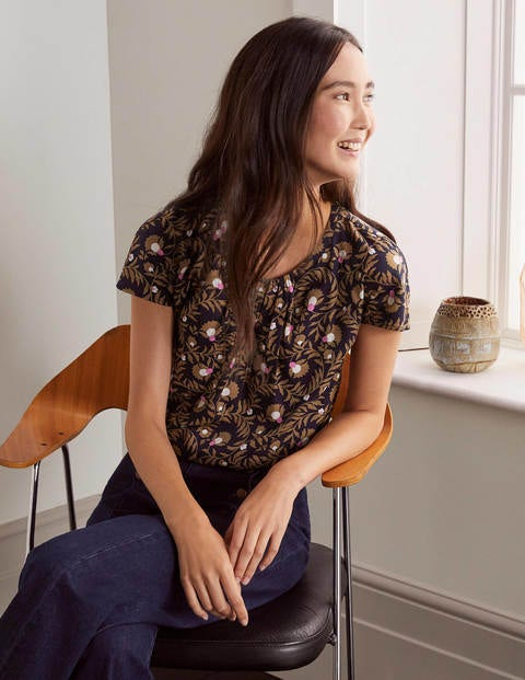 Florence Top - French Navy, Wild Bramble