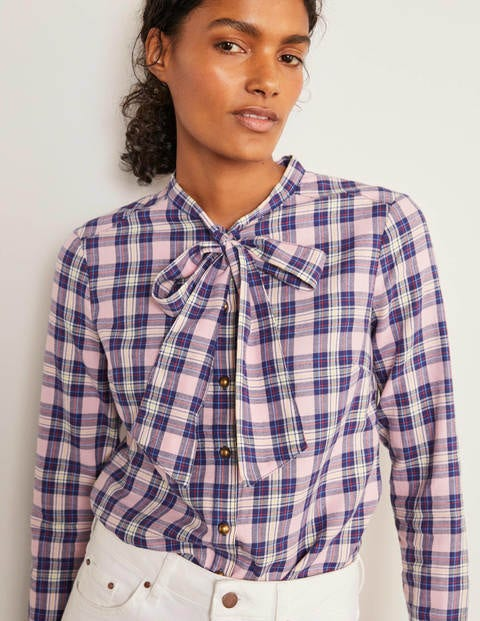 Susannah Bow Neck Shirt - Light Pink and Ivory Check