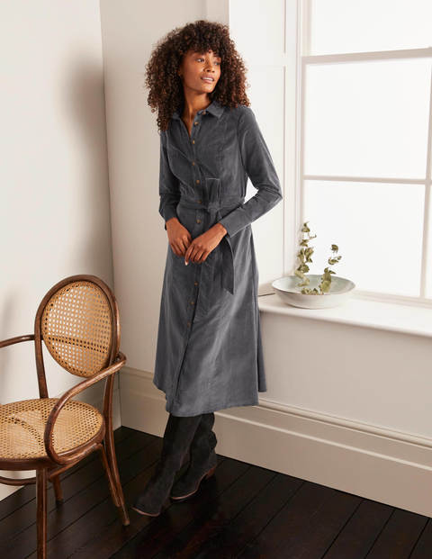 Judith Cord Shirt Dress - Graphite