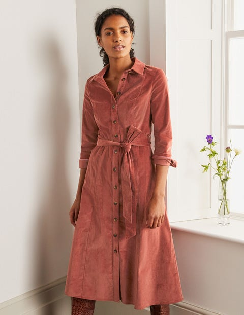Judith Cord Shirt Dress - Red Oak