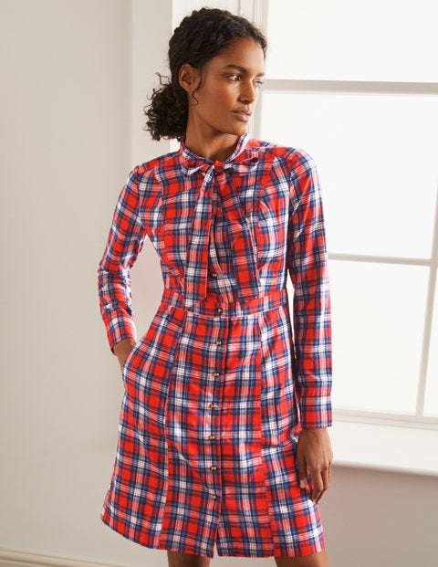 Elspeth Shirt Dress - Red and Ivory Check