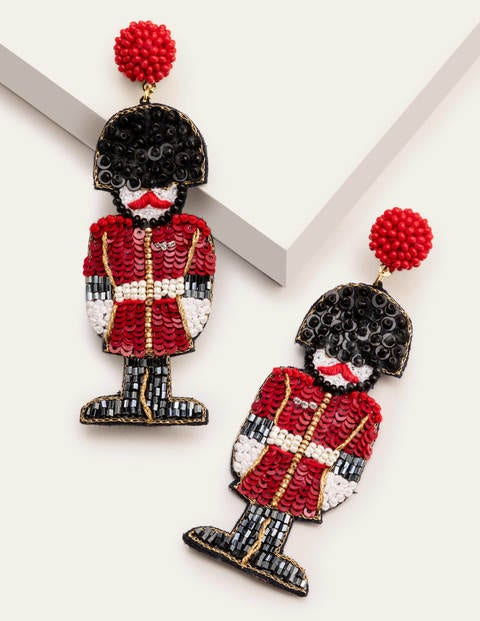 Christmas Sequin Earrings - Maroon