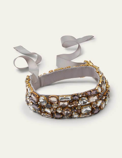 Grey Jewelled Belt - Tin Grey