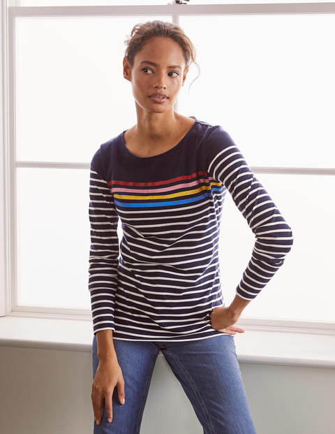 Long Sleeve Breton - Metallic Placement Stripe