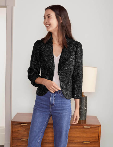 Imelda Sequin Jacket - Black Sequin