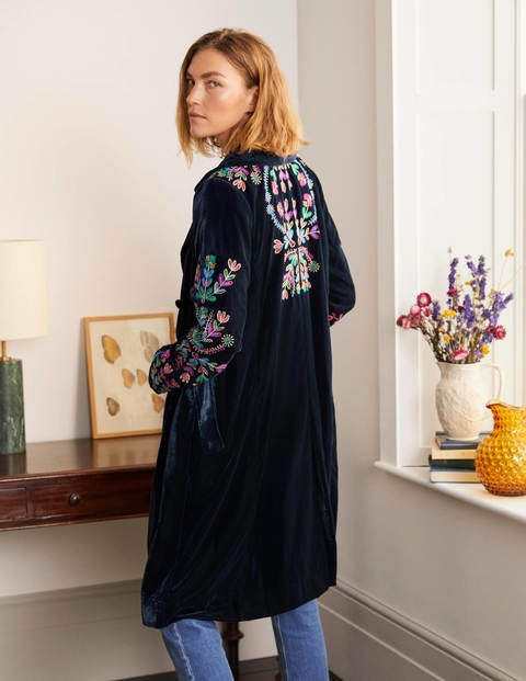 Altheda Embroidered Coat - Navy