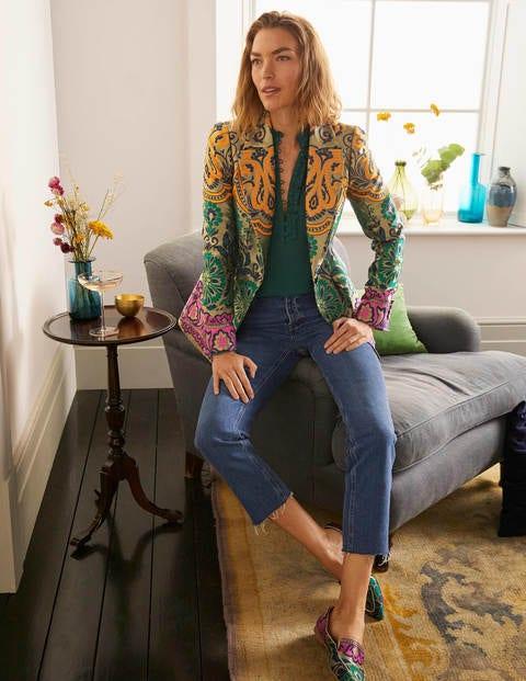 Romaine Jacquard Blazer - Gold, Decadent Garden