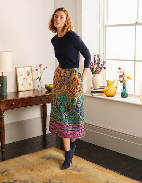Romaine Jacquard Midi Skirt - Gold, Decadent Garden