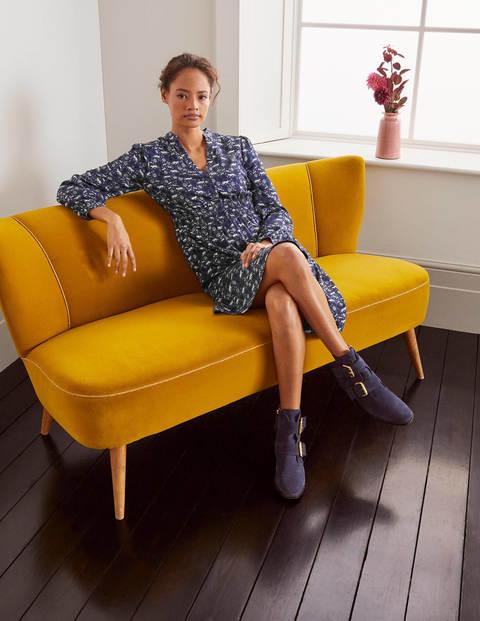 Robe Corinne à smocks - Milkshake bleu marine, motif Woodland