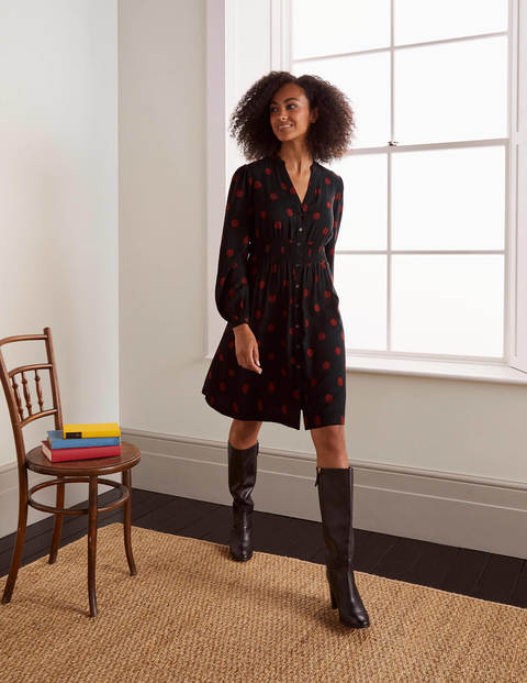 Corinne Smocked Dress - Black and Red Oak, Regular Dot