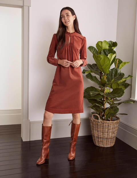 Cornelia Cord Dress - Red Oak