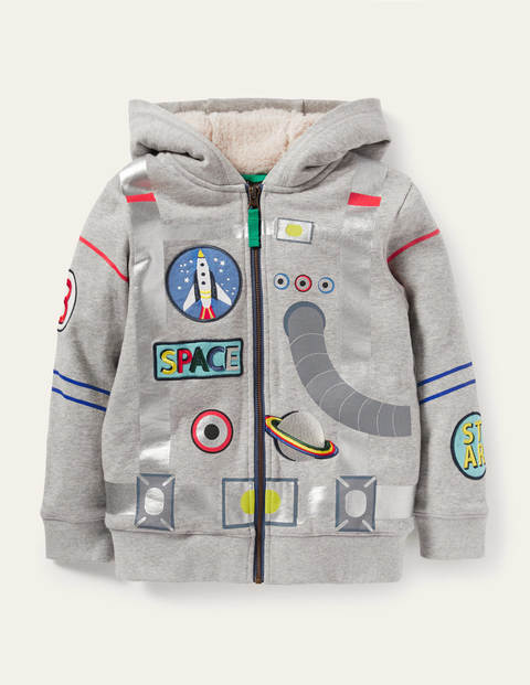 Shaggy-lined Appliqué Hoodie