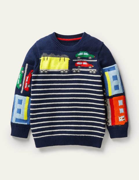 Graphic Crew Sweater - College Navy Trains