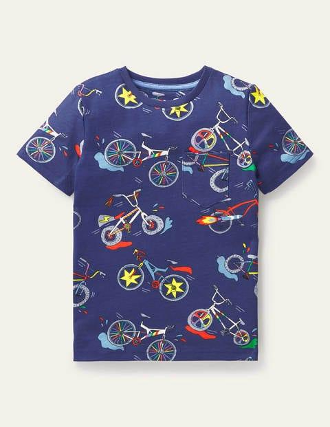 Kurzärmliges T-Shirt mit Muster - Segelblau, Fahrräder