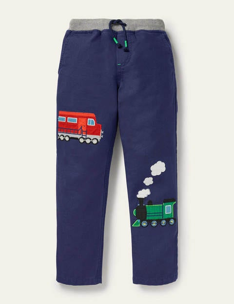 Appliqué Pull-on Pants - Starboard Blue Trains