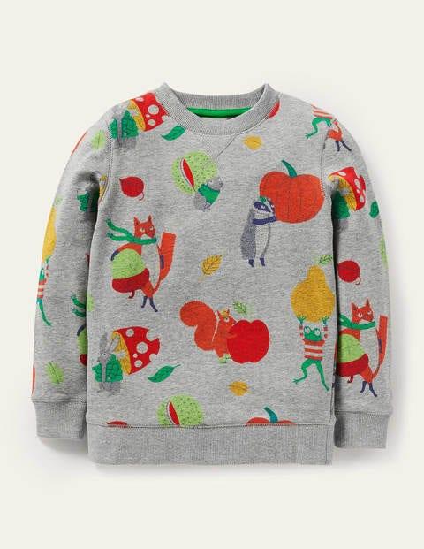 Gemustertes Sweatshirt - Grau Meliert, Herbstliches Getümmel