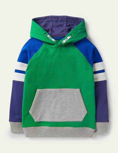 Colourblock Sporty Hoodie - Highland Green/Brilliant Blue