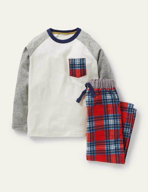 보덴 키즈 슬립웨어 세트 Boden Raglan Brushed Pyjamas - Ivory/Rockabilly Red