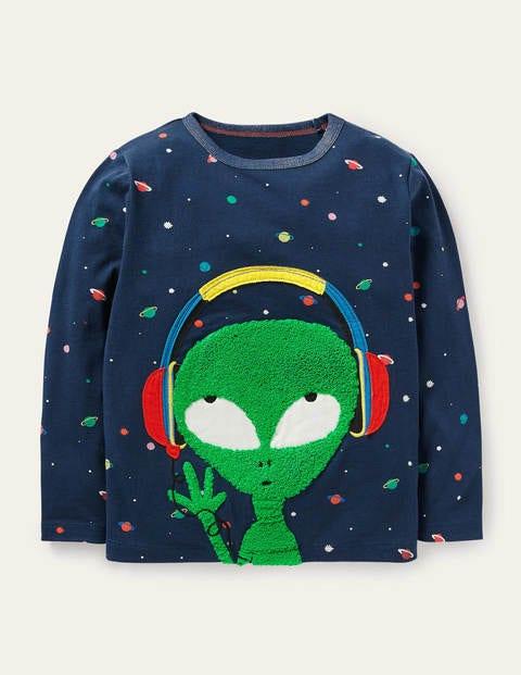 Space Appliqué T-shirt - Stormy Blue Alien