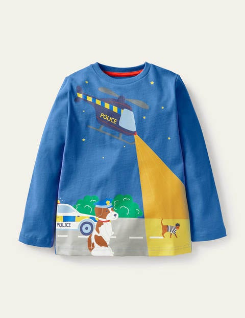 T-Shirt mit leuchtendem Abenteuermotiv - Elisabethanisches Blau, Polizeihündin Sprout