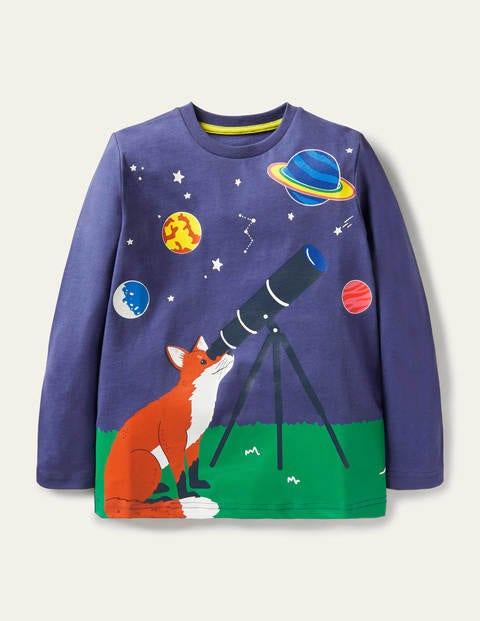 Glow Adventure Scene T-shirt - Starboard Blue Fox Telescope