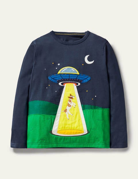 Lift-the-flap Space T-shirt - Stormy Blue UFO Landing
