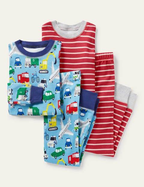Schlafanzug im 2er-Pack mit anliegender Passform - Surfbrettblau, Fahrzeuge