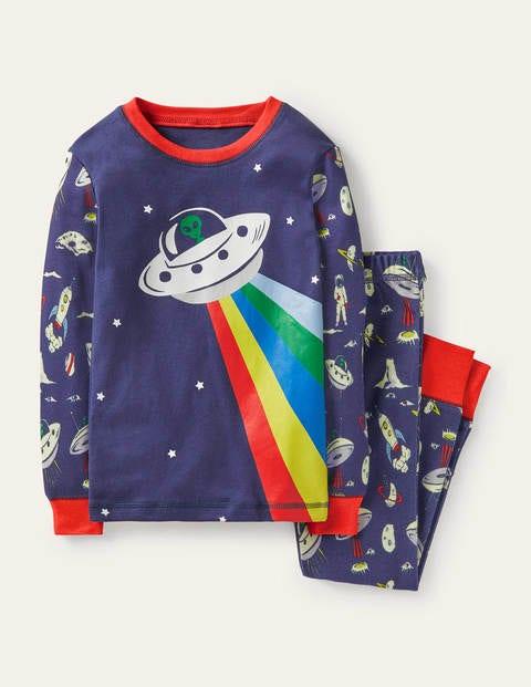 보덴 키즈 슬립웨어 세트 Boden Snug Long John Pyjamas - Starboard Blue UFO
