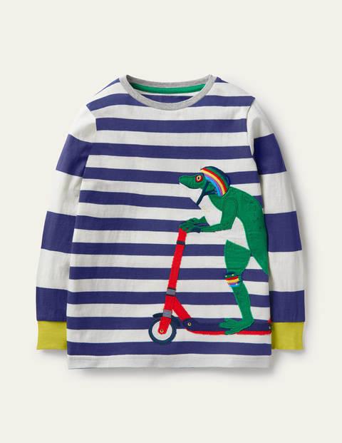 T-shirt rayé à appliqué animal - Grenouille bleu marine universitaire/ivoire