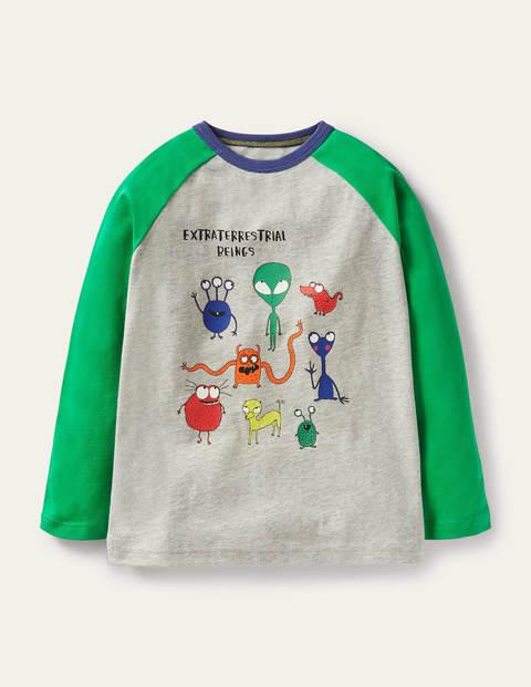 Glowing Space Raglan T-shirt - Grey Marl/Green Aliens