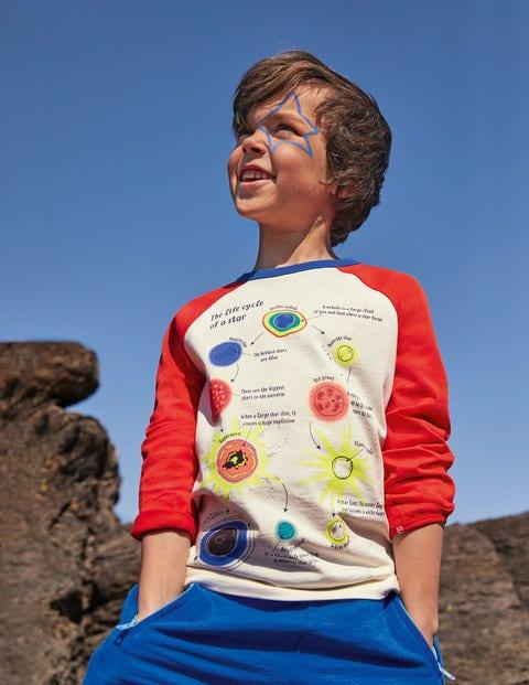 T-shirt raglan à motif spatial fluorescent