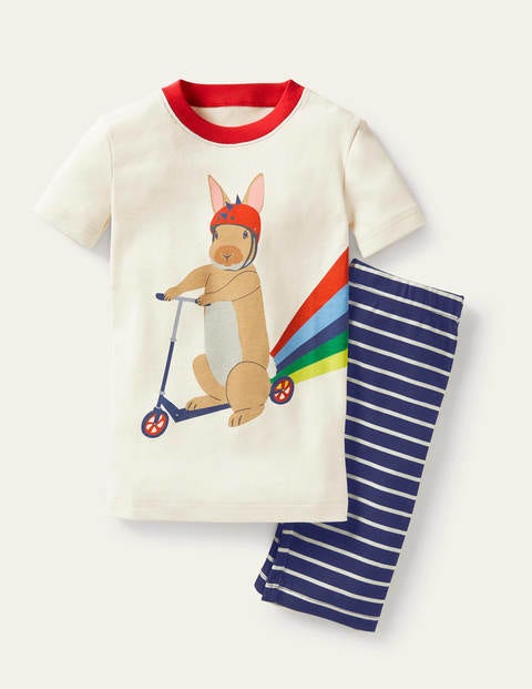 Snug Short John Pajamas - Ivory Rabbit Scooter