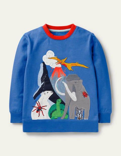Graphic Crew Sweatshirt - Elizabethan Blue Animals