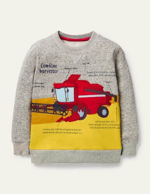 Graphic Crew Sweatshirt - Grey Marl Harvester